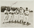 Autographs:Photos, Late 1930's New York Yankees News Photograph Signed by DiMaggio....