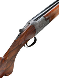 Cased 20 Gauge Browning Diana Grade Superposed Shotgun with Unusual Gold Oval