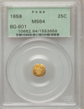California Fractional Gold: , 1859 25C Liberty Round 25 Cents, BG-801, R.3, MS64 PCGS. PCGSPopulation (39/12). NGC Census: (13/22). (#10662)...
