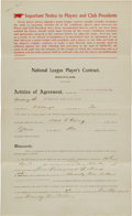 Autographs:Others, 1914-15 Max Carey & Barney Dreyfuss Signed National League Player's Contract....