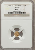 California Fractional Gold, 1859 25C Liberty Octagonal 25 Cents, BG-701, Low R.6, MS61 NGC. NGCCensus: (1/4). PCGS Population (1/22). (#10528)...