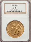 Liberty Double Eagles: , 1851 $20 XF45 NGC. NGC Census: (164/550). PCGS Population(119/324). Mintage: 2,087,155. Numismedia Wsl. Price for problem...