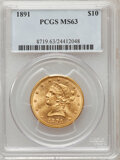 Liberty Eagles: , 1891 $10 MS63 PCGS. PCGS Population (43/3). NGC Census: (42/4).Mintage: 91,868. Numismedia Wsl. Price for problem free NGC...