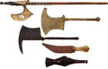 Edged Weapons:Knives, Lot of Five Assorted African Ethnographic Knives and Axes....(Total: 5 Items)