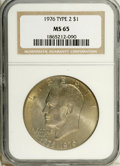 Eisenhower Dollars: , 1976 $1 Type Two MS65 NGC. NGC Census: (1012/252). PCGS Population (832/311). Mintage: 113,318,000. Numismedia Wsl. Price: ...