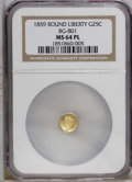 California Fractional Gold: , 1859 25C Liberty Round 25 Cents, BG-801, R.3, MS64 Prooflike NGC. Asolidly struck and rather flashy yellow-orange example ...