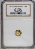 California Fractional Gold: , 1880/70 50C Indian Round 50 Cents, BG-1067, Low R.4, MS64 DeepMirror Prooflike NGC. NGC Census: (2/0). PCGS Population (22...