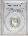 Proof Barber Quarters: , 1896 25C PR67 Deep Cameo PCGS. A glittering Superb Gem with profound contrast between glassy fields and luxuriantly froste...