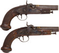 Handguns:Target / Single Shot Pistol, Pair of Unmarked French Percussion Traveling Pistols.... (Total: 2Items)