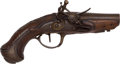 Handguns:Muzzle loading, Unmarked European Flintlock Pocket Pistol....