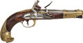 Handguns:Target / Single Shot Pistol, French Officer's Flintlock Cavalry Pistol c. 1780-90....