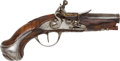 Handguns:Target / Single Shot Pistol, Unmarked Finely Appointed French Flintlock Pocket Pistol....