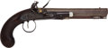 Handguns:Target / Single Shot Pistol, Fine Unmarked English Flintlock Traveling Pistol c. 1820....