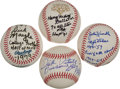 Autographs:Baseballs, Basketball And Football Legends Signed Baseball WithInscriptions....