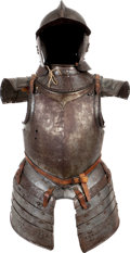 Antiques:Antiquities, 17th Century Half Suit of Armor with Gauntlets and Burgonet.... (Total: 4 Items)