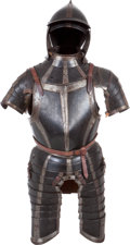 Antiques:Antiquities, Early 17th Century Black & White Augsburg/Nurnberg Guild Three Quarter Suit of Armor with Gauntlets and Burgonet.. ... (Total: 2 Items)