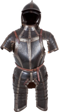 Early 17th Century Black & White Augsburg/Nurnberg Guild Three Quarter Suit of Armor with Gauntlets and Burgonet...