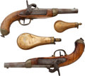 Antiques:Antiquities, Pair of Belgian Military Percussion Pistols together with Two Powder Flasks.... (Total: 4 Items)