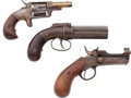 Handguns:Derringer, Palm, Lot of Three Antique Handguns.... (Total: 3 Items)