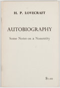 Books:Horror & Supernatural, H. P. Lovecraft. Autobiography: Some Notes on a Nonentity. Sauk City: Arkham House, 1963. First edition, first print...