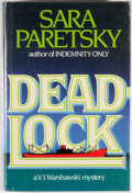 Books:Mystery & Detective Fiction, Sara Paretsky. SIGNED/REVIEW COPY. Deadlock. Garden City: DialPress, 1984. First edition, first printing. Review slip lai...