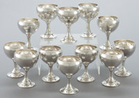 A SET OF TWELVE CLEMENS FRIEDELL SILVER GOBLETS Attributed to Clemens Friedell, Pasadena, California, circa 1927-