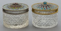 Silver Smalls:Other , TWO CONTINENTAL SILVER GILT AND PLIQUE Á JOUR COVEREDCUT GLASS JARS. Maker unknown, Continental, c... (Total: 2 Items)