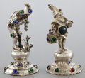 Silver Holloware, Continental:Holloware, TWO GERMAN SILVER AND HARDSTONE FIGURES . Maker unknown, Germany,circa 1900. Unmarked. 5-3/8 inches high (13.5 cm) (taller)...(Total: 2 Items)