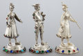 Silver Holloware, Continental, THREE GERMAN SILVER AND HARDSTONE FIGURES . Maker unidentified,Germany, circa 1900. Marks: (star), WG, i, 925. 5-3/8 in...(Total: 3 Items)