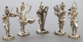 Silver Holloware, Continental:Holloware, A FIVE PIECE GERMAN SILVER AND HARDSTONE FIGURAL BAND . Makerunknown, Germany, circa 1900. Unmarked. 4-3/4 inches high (12....(Total: 5 Items)