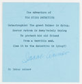 """Autographs:Authors, Isaac Asimov (1920-1992). Typed Sentiment Signed. [N.p., n.d., ca.1986]. Typed sentiment entitled """"The Adventure of THE DYI..."""