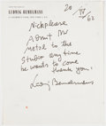 Autographs:Authors, Ludwig Bemelmans (1898-1962). Autograph Note Signed. New York: 20/IV/62. Written by Bemelmans and signed on his personal s...