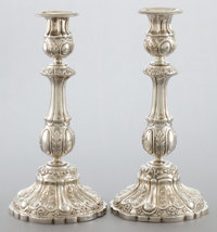 A PAIR OF RUSSIAN SILVER CANDLESTICKS Maker unknown, Assay master Vasily Lapshin, Odessa, Russia, 1868 Marks: