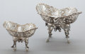 Silver Holloware, British:Holloware, TWO GRADUATED JAMES DIXON & SONS VICTORIAN RETICULATED SILVERBASKETS . James Dixon & Sons, Sheffield, England, circa1902-1... (Total: 2 Items)