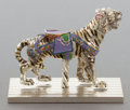 Silver Holloware, American:Other , A TIFFANY & CO. SILVER AND ENAMEL CIRCUS CAROUSEL TIGERDESIGNED BY GENE MOORE . Made in Italy for Tiffany & Co., NewYork, ...
