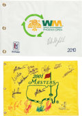 Golf Collectibles:Autographs, Golf Stars Signed Flags Lot of 4....