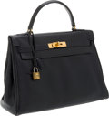 Luxury Accessories:Bags, Hermes 32cm Blue Marine Calf Box Leather Vintage Kelly Bag withGold Hardware. ...