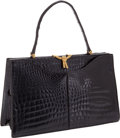 Luxury Accessories:Bags, Morabito Black Shiny Crocodile Bag. ...