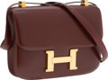 Luxury Accessories:Bags, Hermes 23cm Rouge H Calf Box Leather Constance Bag with GoldHardware . ...