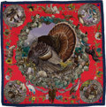Luxury Accessories:Accessories, Hermes Faune et Flore du Texas (Wildlife of Texas) by Oliver Blueand Red Silk Scarf. ...