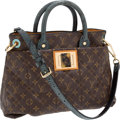Luxury Accessories:Bags, Louis Vuitton Show Collection Turquoise Snakeskin, Ostrich, &Quilted Monogram Canvas Tote with Tortoise Shell Closure. ...