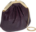 Luxury Accessories:Bags, Judith Leiber Eggplant Lizard Evening Bag. ... (Total: 2 Items)
