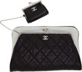 Luxury Accessories:Bags, Chanel Black & White Lambskin Leather Clutch & Pouch. ...