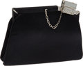 Luxury Accessories:Bags, Judith Leiber Black Satin & Crystal Clip Closure Evening Bag....