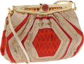 Luxury Accessories:Bags, Judith Leiber Gold Lame & Red Evening Bag with CabochonClosure. ... (Total: 2 Items)