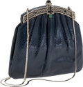 Luxury Accessories:Bags, Judith Leiber Navy Snakeskin With Crystal Closure Evening Bag. ...(Total: 2 Items)