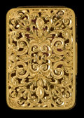 Silver Smalls:Match Safes, AN AMERICAN RETICULATED 14K GOLD MATCH SAFE . Maker unknown,American, circa 1860. Unmarked. 2 inches high (5.1 cm). 1.0 tr...