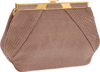 Judith Leiber Taupe Lizard Clutch with Gold Frame and Shoulder Strap