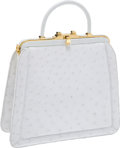 Luxury Accessories:Bags, Judith Leiber White Ostrich Top-Handle Tote. ... (Total: 2 Items)