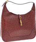 Luxury Accessories:Bags, Hermes 31cm Rouge H Ostrich Trim Bag with Gold Hardware. ...(Total: 2 Items)